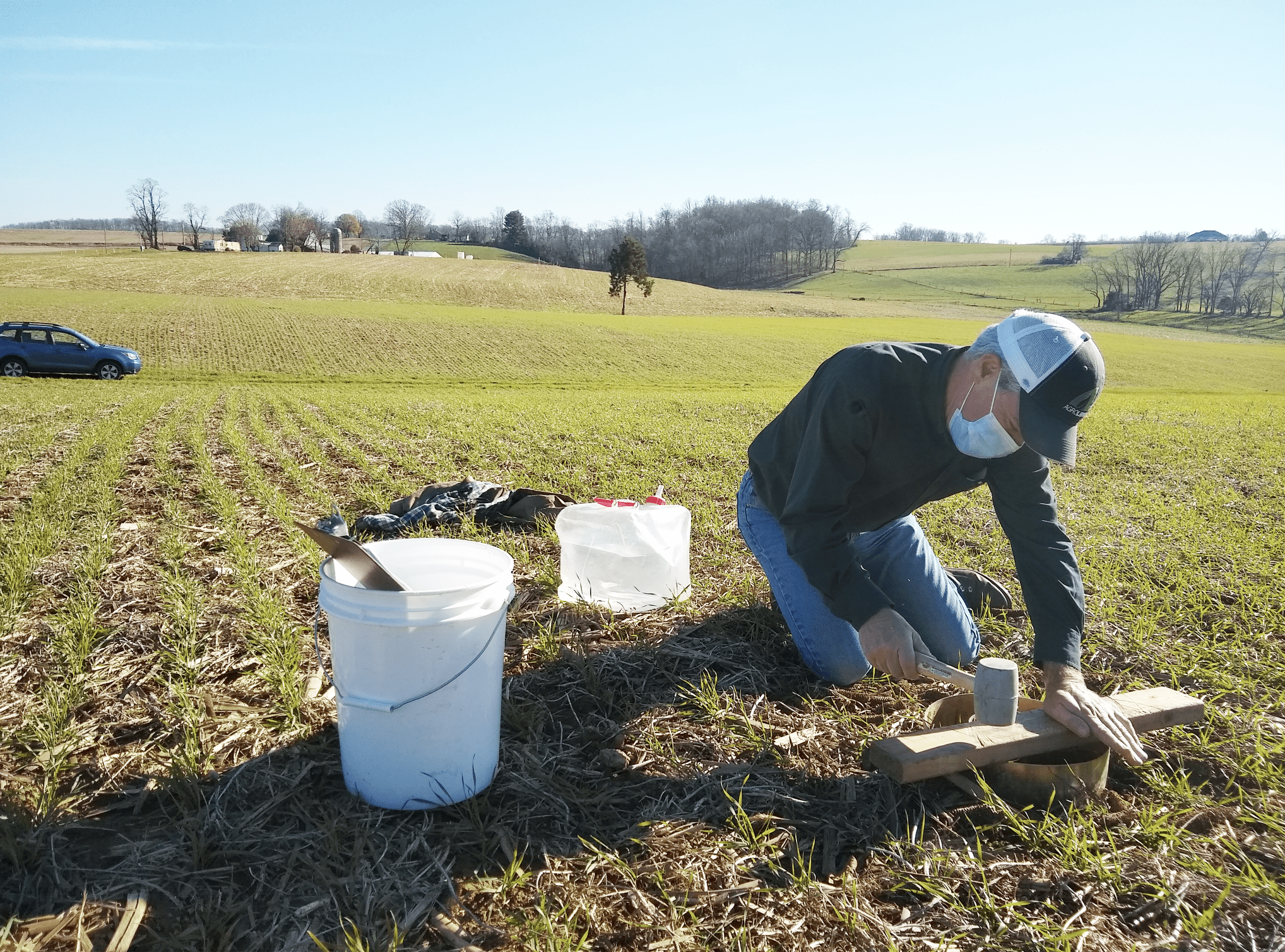 We expanded our study to more closely examine how field management affects water retention and runoff. Farmer and crop advisor Ben Hushon assists with our water infiltration trial on his father's 100-acre row crop farm in York County, Pa.